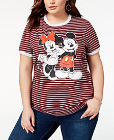 Disney Plus Size Striped Mickey & Minnie Mouse T-Shirt