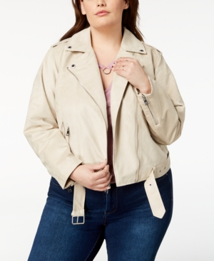 f6727f551e4 Levi S Plus Size Faux-Suede Belted Moto Jacket In Sand