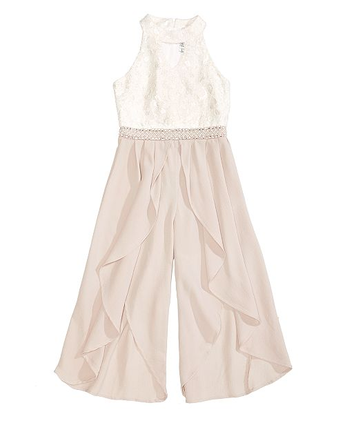 Embellished Lace Jumpsuit, Big Girls