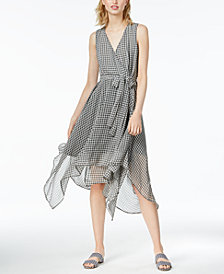 Bar III Asymmetrical Gingham-Print Dress, Created for Macy's