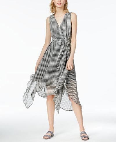 Bar III Asymmetrical Gingham-Print Dress, Created for Macy's
