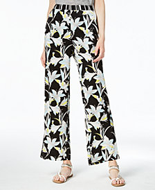 Bar III Printed Wide-Leg Pull-On Pants, Created for Macy's
