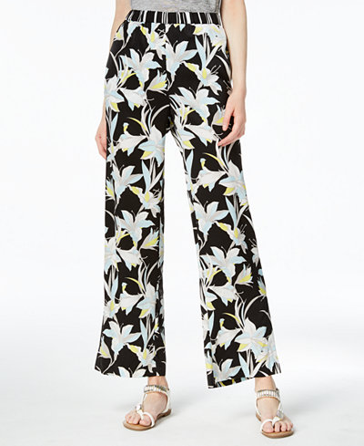 Bar III Printed Wide-Leg Pull-On Pants, Created for Macy's