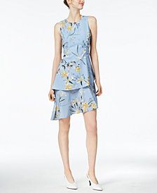 Bar III Printed Asymmetrical Ruffle Dress, Created for Macy's
