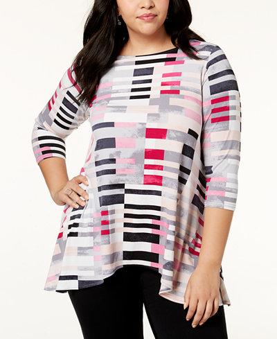 Alfani Plus Size Printed Swing Tunic, Created for Macy's