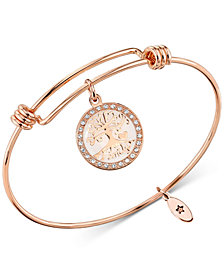 "Unwritten ""Family, Where Life Begins and Love Never Ends"" Adjustable Bangle Bracelet in Rose Gold-Tone Stainless Steel"