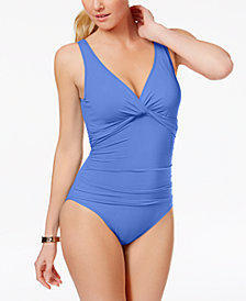Lauren Ralph Lauren Underwire Tummy Control Twist-Front One-Piece Swimsuit