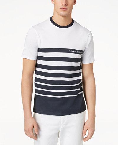 Armani Exchange Men's Stripe Logo-Print T-Shirt, Created for Macy's