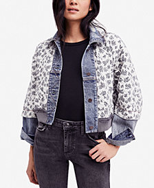 Free People Ditsy Denim Quilted Jacket