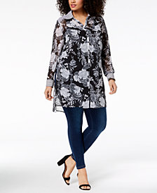 I.N.C. Plus Size Mixed-Print Tunic, Created for Macy's