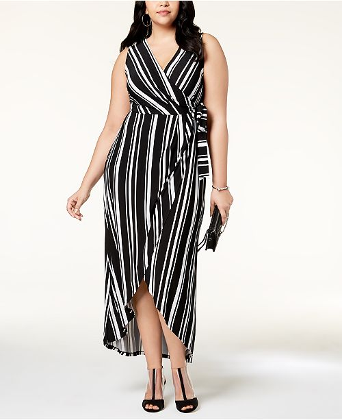 af58332f2e7 ... INC International Concepts I.N.C. Plus Size Striped Faux-Wrap Maxi Dress