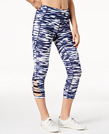 Calvin Klein Performance Printed Cutout Cropped Leggings