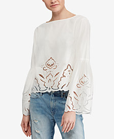Polo Ralph Lauren Eyelet Bell-Sleeve Cotton Top