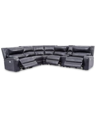 Brant 6-Pc. Leather Sectional Sofa With 3 Power Recliners, Power Headrests, Console And USB Power Outlet