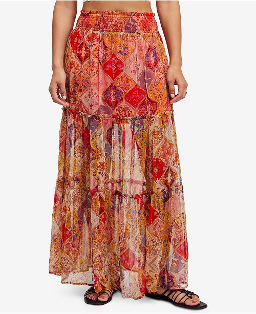 Free People The Great Escape Printed Maxi Skirt