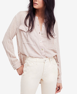 Talk To Me Crinkled Frayed Hem Shirt by Free People