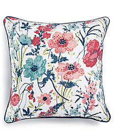 "LAST ACT! Lacourte Delila 20"" Square Embroidered Floral-Print Decorative Pillow, Created for Macy's"