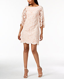 Vince Camuto Split-Sleeve Floral Lace Dress