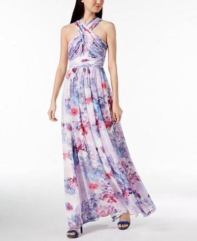 Calvin Klein Floral Chiffon Crisscross Halter Gown
