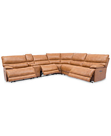 Woodyn 6-Pc. Leather Sectional Sofa With 3 Power Recliners, Power Headrests, Lumbar, Console And USB Power Outlet
