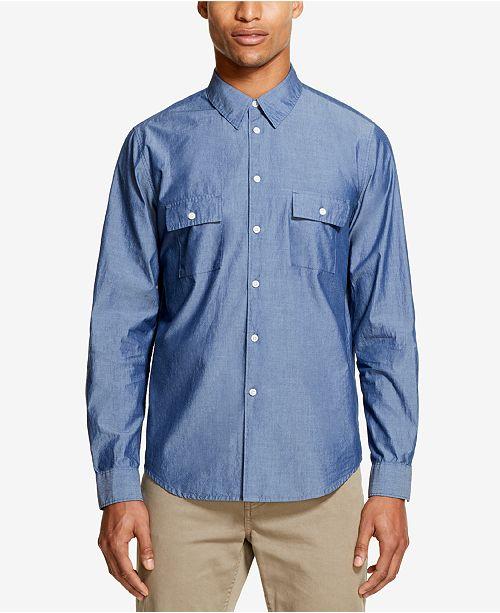 Men's Two Pocket Indigo Woven Shirt, Created for Macy's