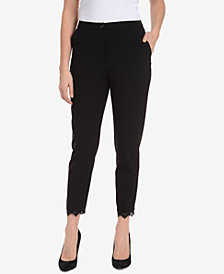NY Collection Lace-Trimmed Cropped Pants