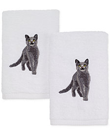 Avanti Cotton 2-Pc. Gray Cat Embroidered Hand Towel Set