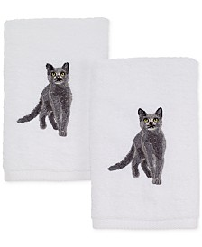 Avanti Cotton 2-Pc. Gray Cat Embroidered Hand Towel Set