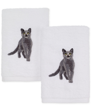 Avanti Cotton 2Pc Gray Cat Embroidered Hand Towel Set Bedding