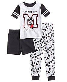 Disney's® Mickey Mouse 3-Pc. Cotton Pajama Set, Little Boys & Big Boys, Created for Macy's