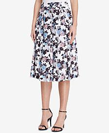 Tahari ASL Pleated Floral-Print Skirt