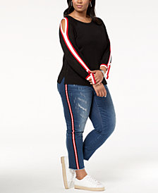 I.N.C. Plus Size Sweater & Racing-Stripe Jeans, Created for Macy's