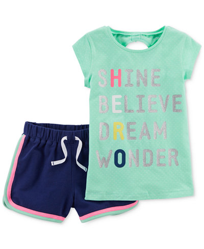 Carter's 2-Pc. Bow-Back T-Shirt & Shorts Set, Little & Big Girls