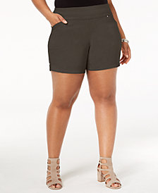 I.N.C. Plus Size Pull-On Shorts, Created for Macy's