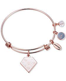 "Unwritten ""She is Fierce"" Multi-Charm Adjustable Bangle Bracelet in Rose Gold-Tone Stainless Steel"