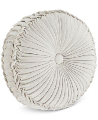"Giovani White 15"" x 4"" Tufted Round Decorative Pillow"