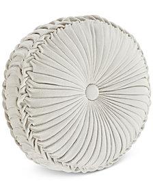 "J Queen New York Giovani White 15"" x 4"" Tufted Round Decorative Pillow"