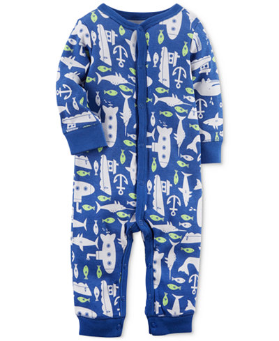 Carter's 1-Pc. Submarine-Print Cotton Coverall, Baby Boys