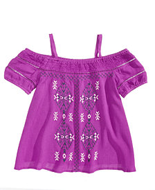 Kandy Kiss Cold-Shoulder Embroidered Top, Big Girls