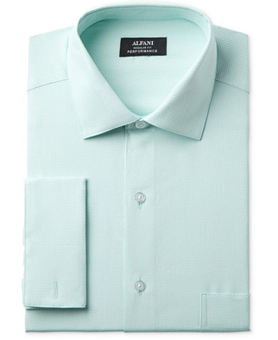 Alfani Men's Classic/Regular Fit Performance Step Twill Texture French Cuff Dress Shirt, Created for Macy's