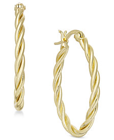 Essentials Small Gold Plated Twisted Hoop Earrings