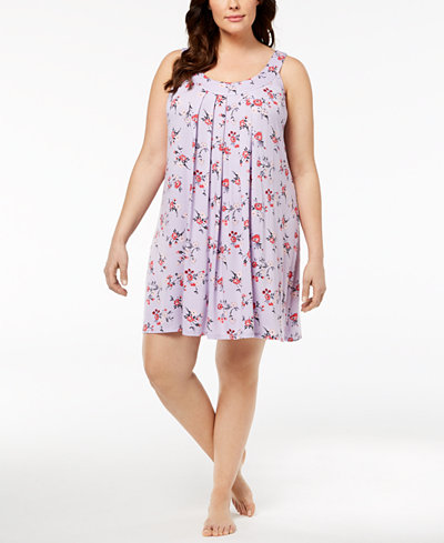 Alfani Plus Size Bouquet-Print Pleated Chemise, Created for Macy's