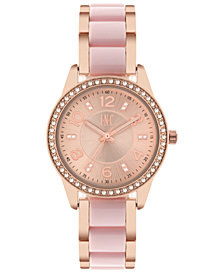 I.N.C. Women's Rose Gold-Tone & White or Pink Acrylic Bracelet Watch 34mm, Created for Macy's