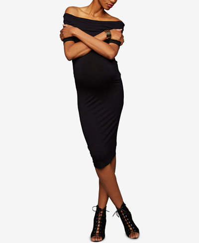 A Pea In The Pod Maternity Off-The-Shoulder Sheath Dress