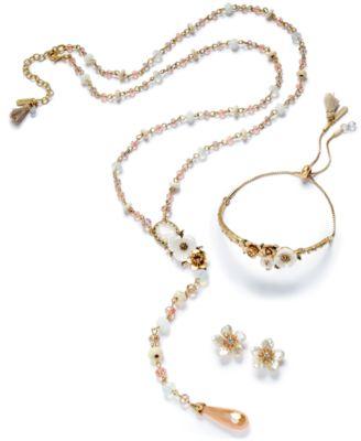 Gold-Tone Crystal & Imitation Pearl Flower Stud Earrings