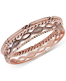 Anne Klein Rose Gold-Tone 4-Pc. Set Crystal Bangle Bracelets, Created for Macy's