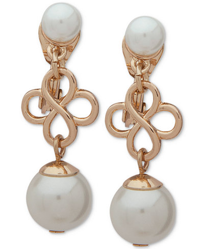 Anne Klein Gold-Tone Imitation Pearl Clip-On Drop Earrings