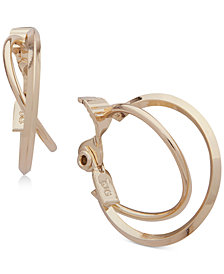 Anne Klein Double Hoop E-Z Comfort Clip-On Earrings