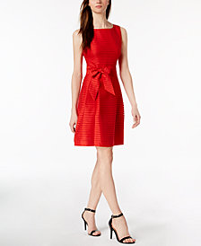 Anne Klein Shadow-Stripe Fit & Flare Dress