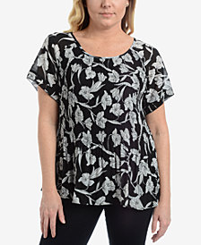NY Collection Printed Pleated Top